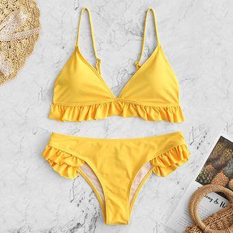 Y Con Fruncido Amarillo De Zambullida Bikini Relleno Zaful TwPZiOkXu