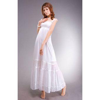 d47f364fb Compra vestido largo estilo bohemio con encaje decorado color blanco ...