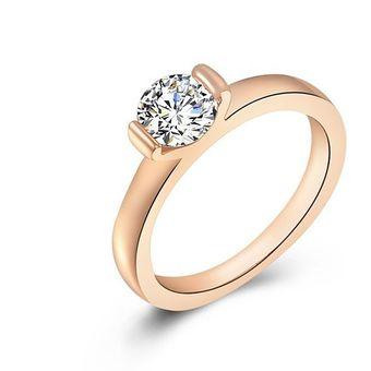 0005817b8640 Compra Diamante Anillo Cristal 18K Rose Plateó Circón Anillo - Oro ...
