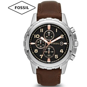 472cab70c816 Reloj Fossil Dean FS4828 Cronometro Acero Inoxidable Correa de Cuero -  Marrón