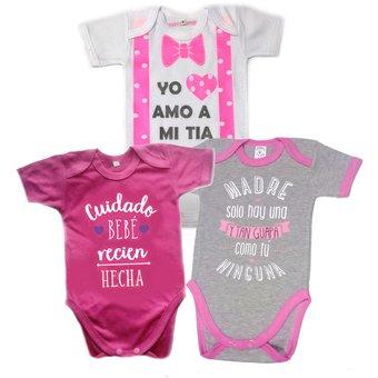 Set De 3 Body Bodie Frases Para Bebe Niña Baby Monster