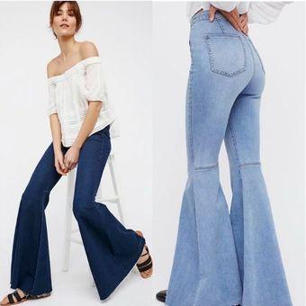 3f1188b1a55 Jeans de campana de cintura alta, pantalones vaqueros de cintura alta.