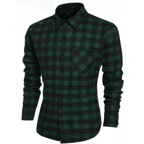 COOFANDY Camisa De Algodón Cuadros Para Hombre-Verde f3a00db6c0be4