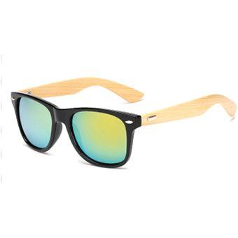 f092968118 Agotado Encantador Bambú Gafas De Sol De Madera Gafas Sol Espejo Los  Anteojos HD Lentes -Negro