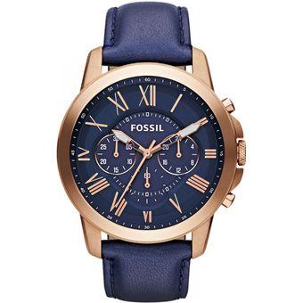 4f0309a97303 Reloj Fossil Grant FS4835 Analógico Correa De Cuero Para Hombre - Azul