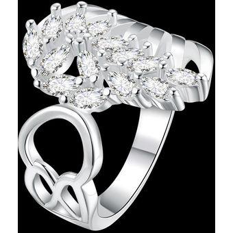 Compra Romántico Mujer Doble Blanco   Plata Chapado Anillo online ... 1eff3643b077