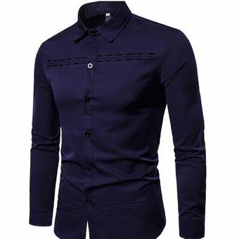 32cad8fd Compra Camisa de hombre de manga larga solapa con diseño hueco azul ...