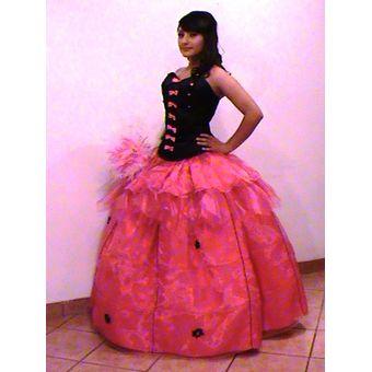 Vestidos Xv Años De Rosa Con Negro Talla 38 Talle Largo