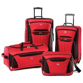 2ecc0a04dc7c8 Set Cuatro Maletas Viaje Bari American Tourister Samsonite Rojo con Negro