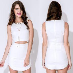 58e838937f Bodycon Mini Vestido Hueco en la Cintura para Mujer-Blanco