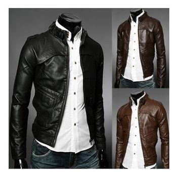 a60b8ad317b62 Compra Chaqueta De Pu Casual De Moto Para Hombre -Negro online ...