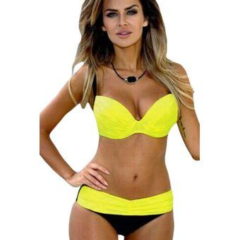 Up Rhea Recogido Bikini Ats 7 Acolchado Lc410077 Push Amarillo vm80nNwyO