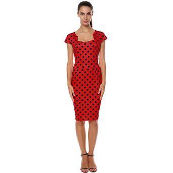 Compra Vestido Tubo Escote Especial Para Mujer-Rojo Y Negro online ... ad44f3b2398a