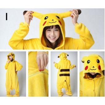Agotado Unisex Cálido Pijamas Mamelucos Para Adultos Cosplay Animales De Vestuario  Ropa De Dormir -Pikachu 2dbe21ee335f
