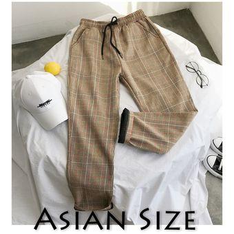 Pantalones De Tela Escocesa De Estilo Informal De Estilo Coreano Negro Para Hombres Y Mujeres Pantalones Harem 2020 Para Hombres Pantalones A Cuadros De Talla Grande Para Hombres W4 Linio Peru Un055fa0g1uc7lpe