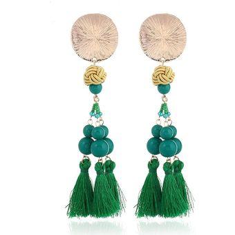 9c5010772a82 Compra Moda Elegante Pendientes Largos Borla Para Mujer-Verde online ...
