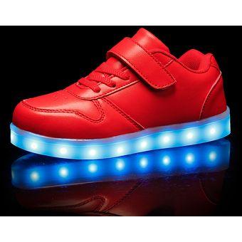 5896f041e48 Compra Zapatos Para Niños Con Luces LED Colorido Calzado Casual-rojo ...