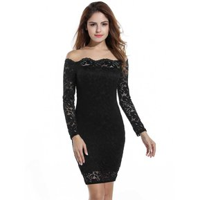 7c0605ff448 Nueva Mujer Lápiz Fuera Del Hombro Vestido Manga Larga -negro