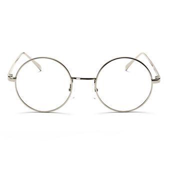 Agotado Vintage ópticos Gafas Redondo Los Anteojos Grande Marco Unisexo Estudiante  Miopía -Plateado 744d6a635330