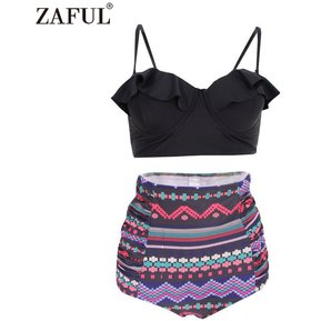 2a41955ed6 ZAFUL Fashion Falbala Bikini de cintura alta para (Negro)