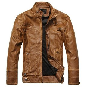 Moda Hombres Nuevos abrigos de cuero de la motocicleta chaqueta abrigo de  cuero lavada 932f319069f