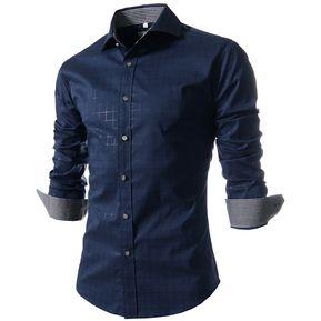 4601d3d8199ff Plaid Informal Camiseta Manga Larga (Marina)