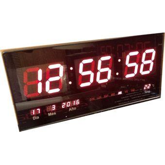 70feb4cb0c6f Reloj LED Digital de Pared Gigante Rojo Fecha Hora Temperatura Electrónico