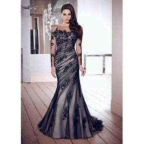 e6fd1f3504 Vestido de noche largo de gasa con encaje para Fiestas-Negro