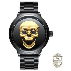 f85876561a6e Reloj Calavera Mad Skull Black And Gold Steel Mx