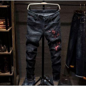 Pantalones Vaqueros Para Hombre Nueva Personalidad Europea Y Americana Agujeros De Bordado Retro Delgados Pantalones De Mezclilla Negro Linio Chile Oe956fa0zqcytlacl