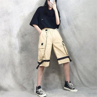 Ropa De Calle Harajuku Pantalones Cortos Informales De Harem Para Mujer Con Cadena Pantalones Largos De Estilo Hip Hop De Moda Goticos De Color Negro Solido Black Linio Peru Un055fa0hv8kflpe