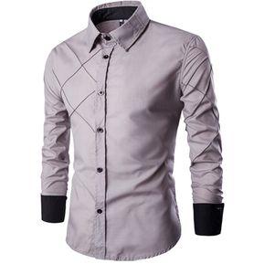 Adelgazante Comprobado Patrón Largo Manga Camisa Para Hombres (Gris) ce1232231d2
