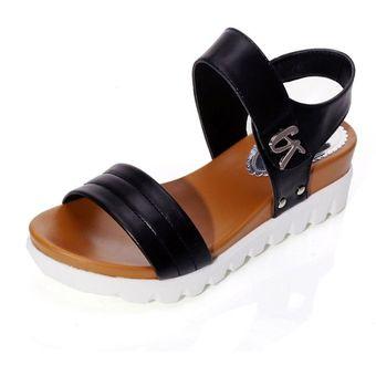 Negro Zapatos El Cuñas Plataforma Sandalias De Verano Cómodos Altas Mujeres Talón AR3j45L