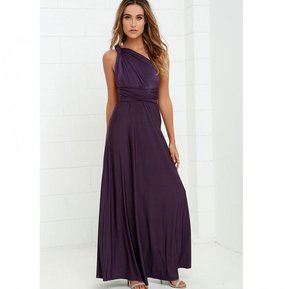 565beda9438fe Largo Vestidos Estilo Multi-desgaste Halter Cruz Sexy - Púrpura Oscuro