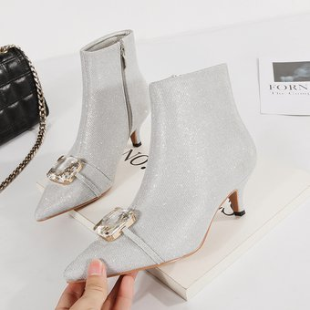 nueva selección precio especial para sitio oficial Mujer Botas Cortas De Tacon Fashion-cool-Plateado