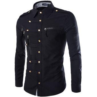 1fee347abad5d Estilo Militar Camiseta Slim Fit Marca De Manga Larga Para Los Hombres  (Negro)