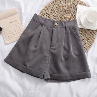 Novedad De En Pantalones Cortos Para Mujer Lisos A La Moda Elegantes Faciles De Combinar De Alta Calidad Estilo Coreano Monoboton Para Uso Diario Para Mujer Gray Linio Peru Un055fa0ao30jlpe