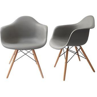 compra 2 sillas estilo eames con brazo 135 color gris modelo par135