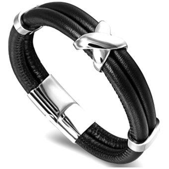 4c9cc945e570 Bracelet Ovejas Importadas Pulsera Brazalete De Piel De Alta Calidad De Los  Hombres Negro