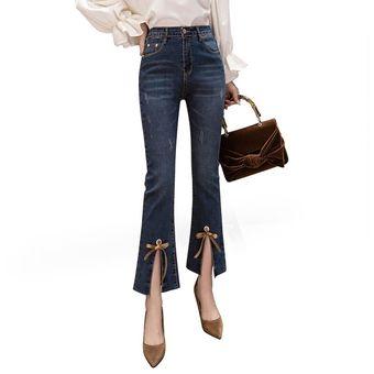 cliente primero fuerte embalaje auténtico Campana Coreana Pantalones Vaqueros Flare Mujeres Split Lace Up Jeans