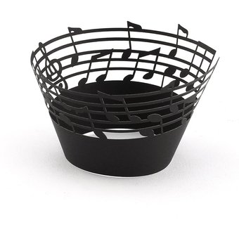 Liner Notas Pastel De Muffin 50pcs Wrappers Musicales Caso Cupcake Papel Láser Negro Ey Vaso Corte TwOZPklXiu