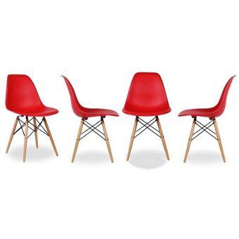 set de sillas eames dsw rojo