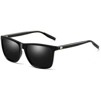 6b410cde7d Hombres Moda Retro UV400 gafas de sol polarizadas de marco de aluminio y  magnesio (negro