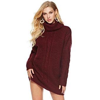 432f947e50 Compra Suéter de punto largo con vestido de punto para mujer rojo ...