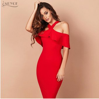 151cd39945 Vestido De Fiesta De Halter Con Volantes Para Mujer Vestido De Noche-Rojo