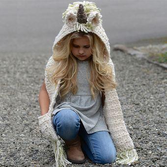 Gorra lana con bufanda de forma unicornio para niño o niña E-Thinker - Verde e695cea01af