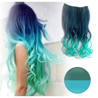 a598fdcc2031 Cortina de cabello Ondulada en colores degradee Extensión completa de  fantasía en colores - Azul - Aguamarina