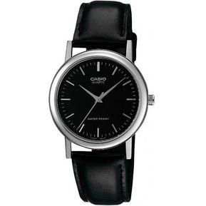 Reloj Casio MTP1095 Piel Negro Plata Barras Cara Negra 0053c62e6a8