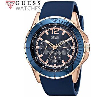 Multifuncional Inoxidable Guess Acero De Dorado U0485g1 Correa Azul Silicona Reloj 8PZXNOnw0k