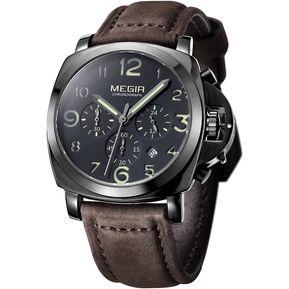 Moda Casual Reloj Cronógrafo Hombres Marca de lujo del deporte del cuarzo  Militar Cuero Reloj Megir 6550bb505cae